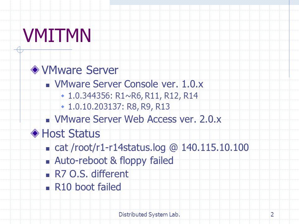 Distributed System Lab.2 VMITMN VMware Server VMware Server Console ver. 1.0.x 1.0.344356: R1~R6, R11, R12, R14 1.0.10.203137: R8, R9, R13 VMware Serv