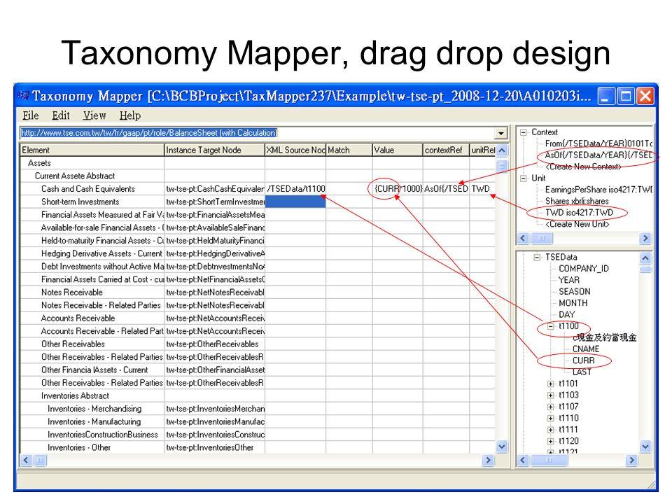 Taxonomy Mapper, drag drop design