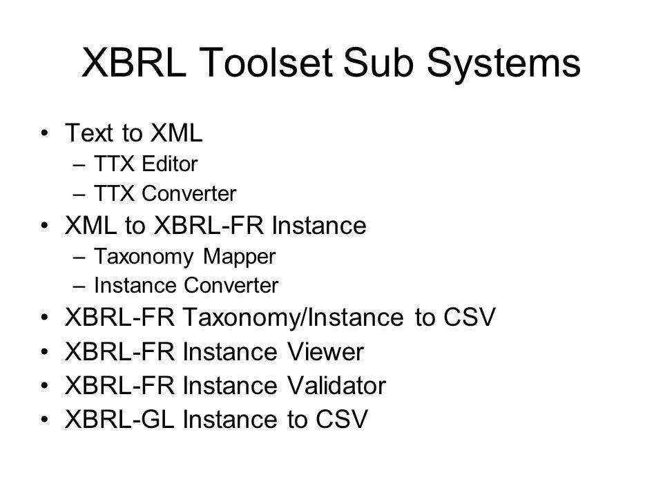 XBRL Toolset Sub Systems Text to XML –TTX Editor –TTX Converter XML to XBRL-FR Instance –Taxonomy Mapper –Instance Converter XBRL-FR Taxonomy/Instance to CSV XBRL-FR Instance Viewer XBRL-FR Instance Validator XBRL-GL Instance to CSV