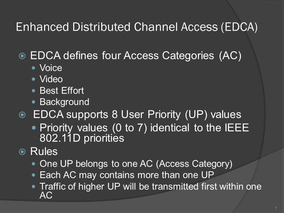 EDCA-Access Category (AC) Four access categories (ACs) that support the delivery of traffic with differentiated UPs An AC is an enhanced variant of the DCF which contends for TXOP using the following parameters: CWmin[AC], CWmax[AC], AIFS[AC].