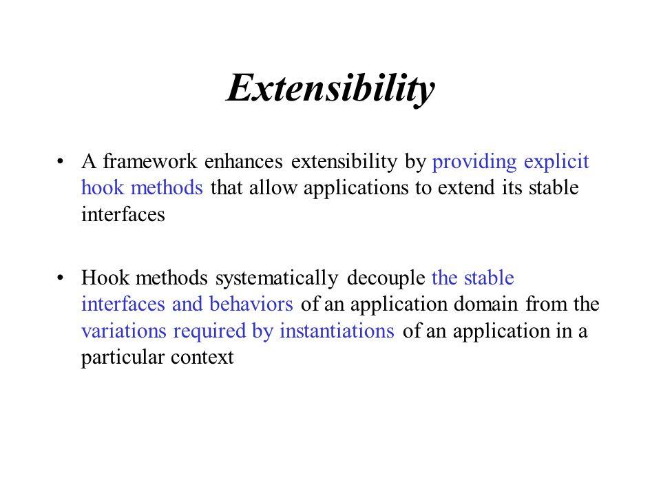 Future Trends Reducing framework development effort Greater focus on domain-specific enterprise frameworks Blackbox frameworks Framework documentation Processes for managing framework development Framework economics