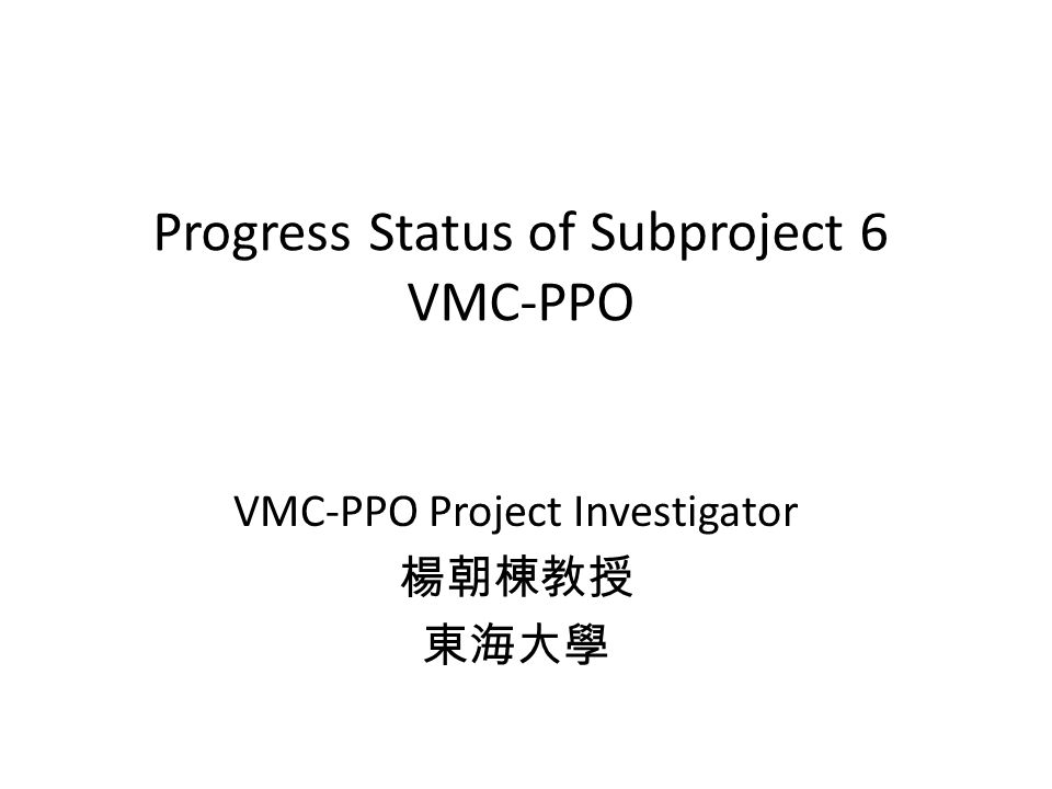 Progress Status of Subproject 6 VMC-PPO VMC-PPO Project Investigator