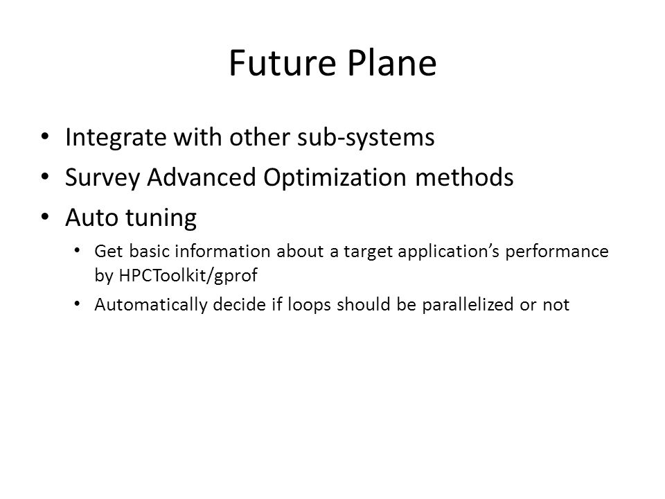 Future Plane Integrate with other sub-systems Survey Advanced Optimization methods Auto tuning Get basic information about a target applications perfo