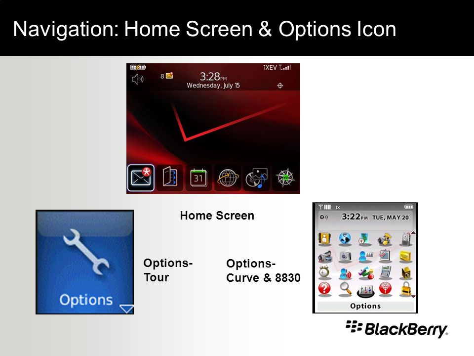 Navigation: Home Screen & Options Icon Options- Curve & 8830 Options- Tour Home Screen