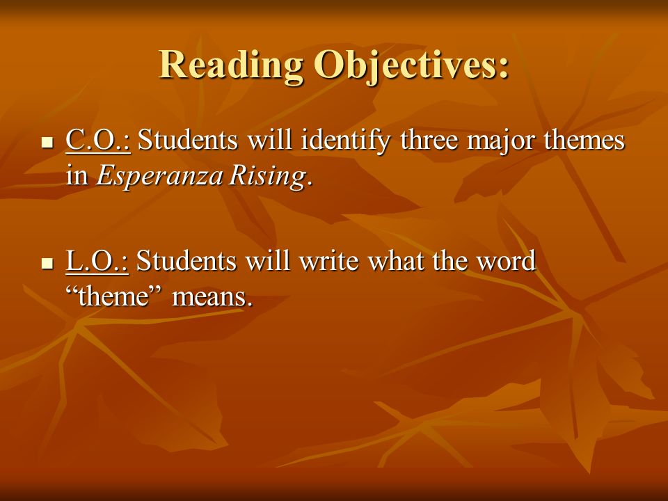 Reading Objectives: C.O.: Students will identify three major themes in Esperanza Rising.
