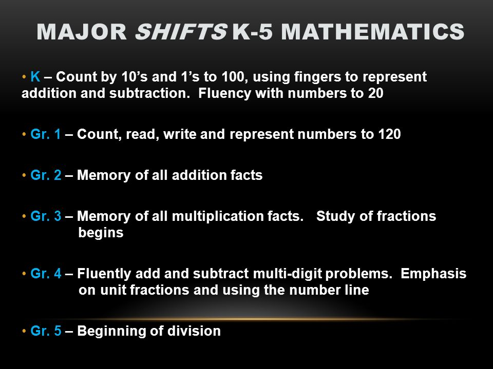 MAJOR SHIFTS K-5 MATHEMATICS K – Count by 10s and 1s to 100, using fingers to represent addition and subtraction.