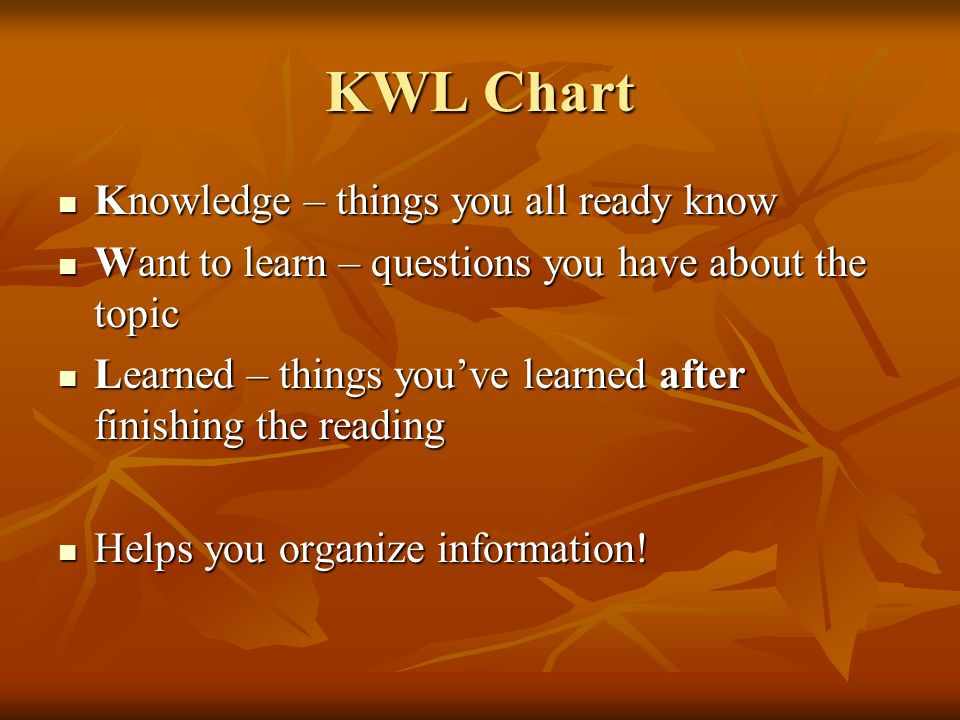 KWL Chart Knowledge – things you all ready know Knowledge – things you all ready know Want to learn – questions you have about the topic Want to learn – questions you have about the topic Learned – things youve learned after finishing the reading Learned – things youve learned after finishing the reading Helps you organize information.