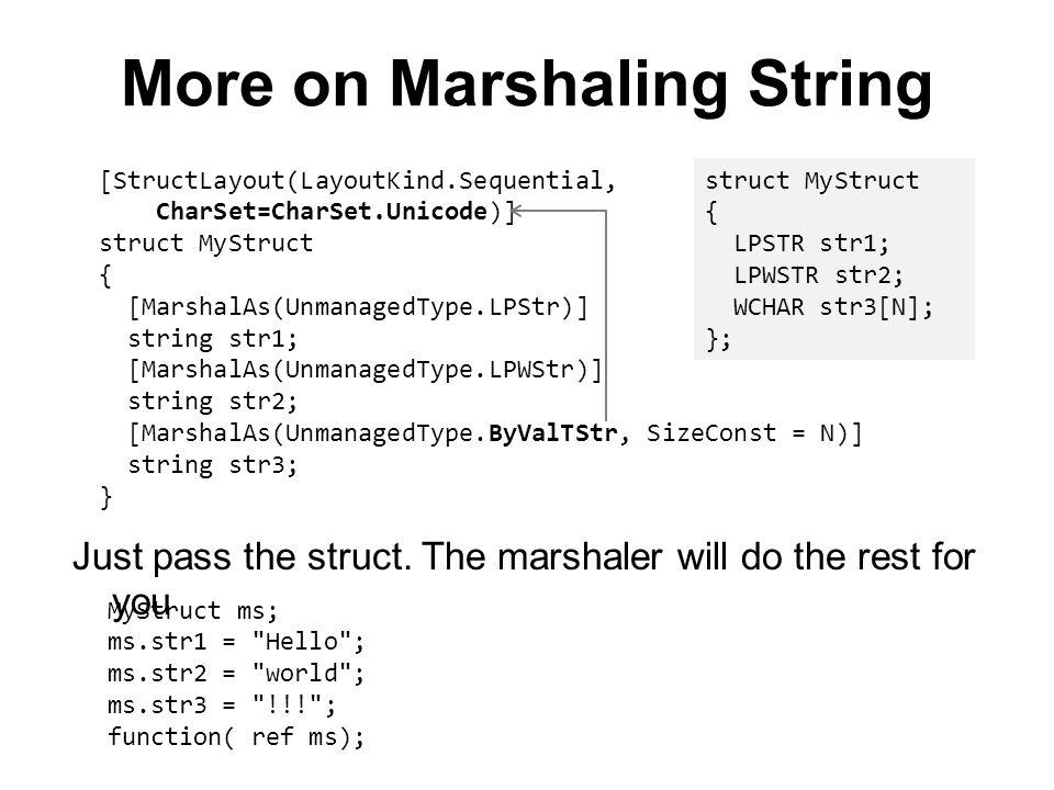[StructLayout(LayoutKind.Sequential, CharSet=CharSet.Unicode)] struct MyStruct { [MarshalAs(UnmanagedType.LPStr)] string str1; [MarshalAs(UnmanagedTyp