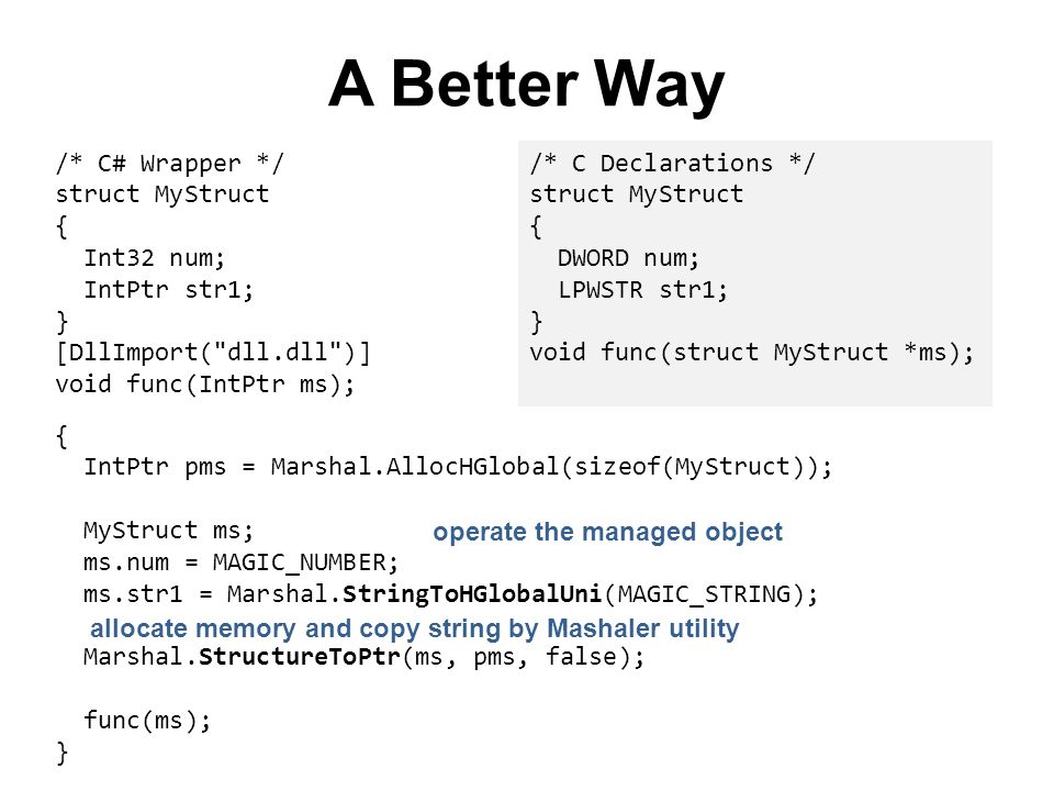 A Better Way { IntPtr pms = Marshal.AllocHGlobal(sizeof(MyStruct)); MyStruct ms; ms.num = MAGIC_NUMBER; ms.str1 = Marshal.StringToHGlobalUni(MAGIC_STR