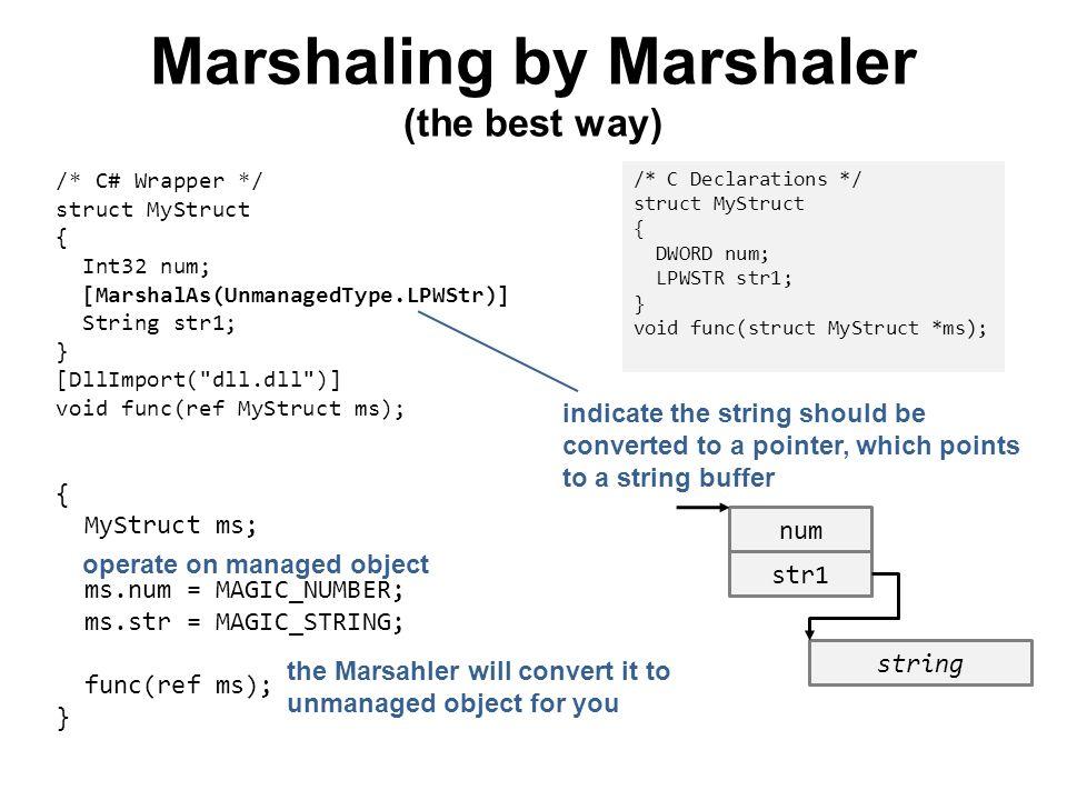 Marshaling by Marshaler (the best way) { MyStruct ms; ms.num = MAGIC_NUMBER; ms.str = MAGIC_STRING; func(ref ms); } /* C Declarations */ struct MyStru