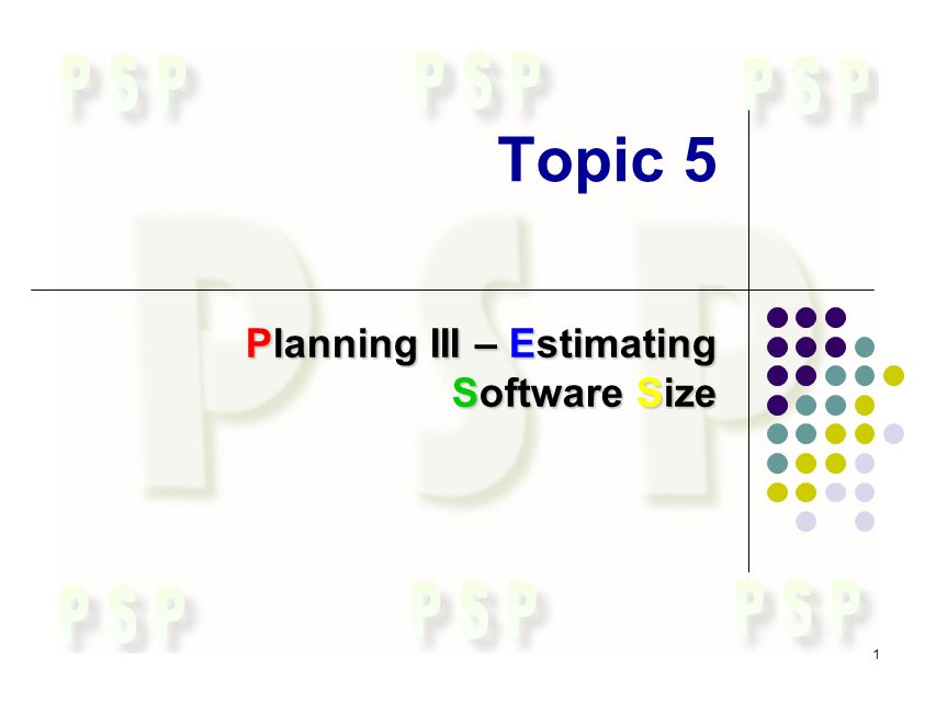 1 Topic 5 Planning III – Estimating Software Size