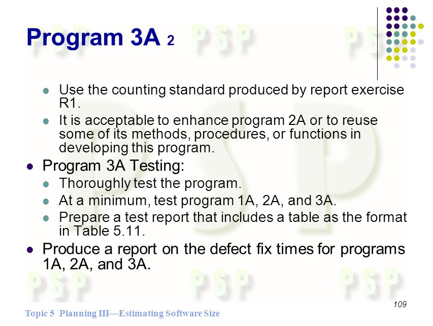 Topic 5 Planning IIIEstimating Software Size 109 Program 3A 2 Use the counting standard produced by report exercise R1.