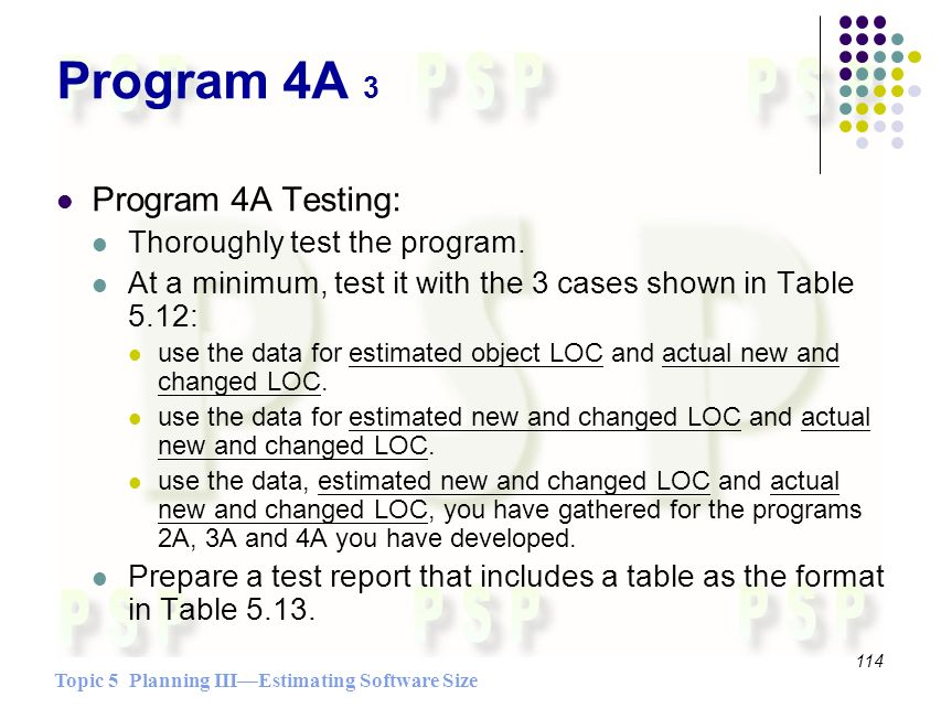 Topic 5 Planning IIIEstimating Software Size 114 Program 4A 3 Program 4A Testing: Thoroughly test the program.