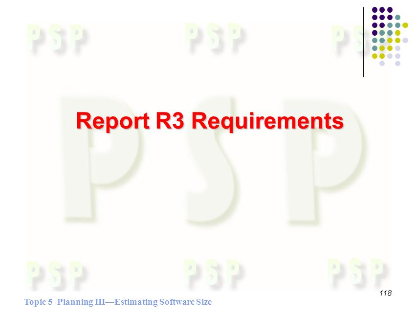 Topic 5 Planning IIIEstimating Software Size 118 Report R3 Requirements