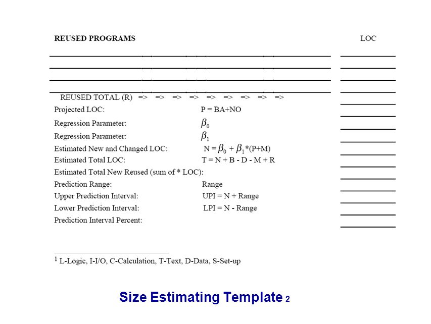 Size Estimating Template 2