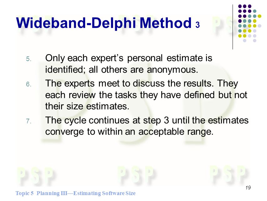 Topic 5 Planning IIIEstimating Software Size 19 Wideband-Delphi Method 3 5. Only each experts personal estimate is identified; all others are anonymou