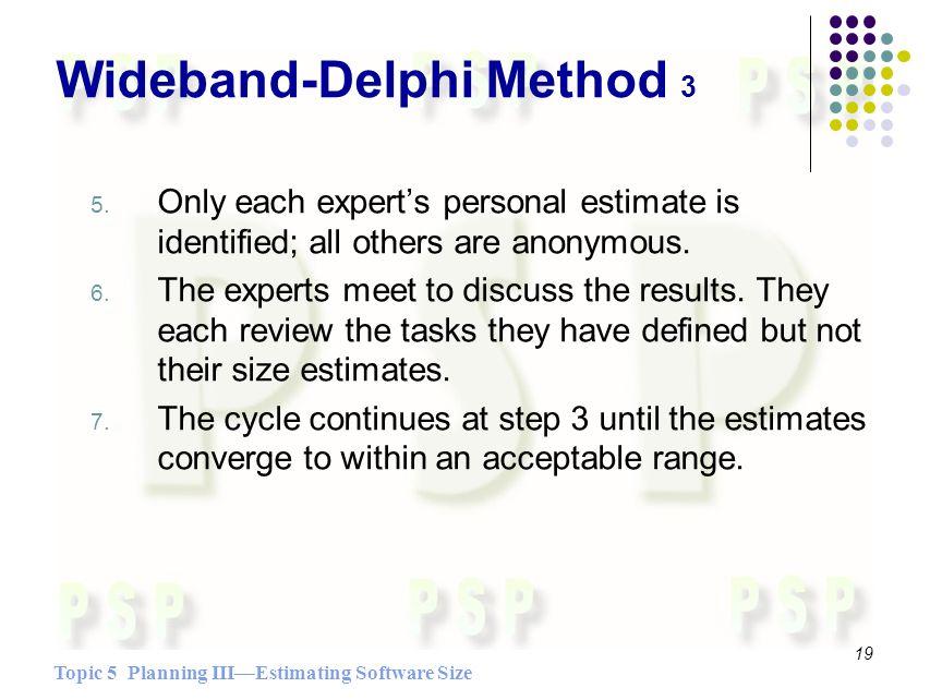 Topic 5 Planning IIIEstimating Software Size 19 Wideband-Delphi Method 3 5.