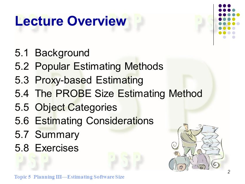 Topic 5 Planning IIIEstimating Software Size 2 Lecture Overview 5.1 Background 5.2 Popular Estimating Methods 5.3 Proxy-based Estimating 5.4 The PROBE Size Estimating Method 5.5 Object Categories 5.6 Estimating Considerations 5.7 Summary 5.8 Exercises
