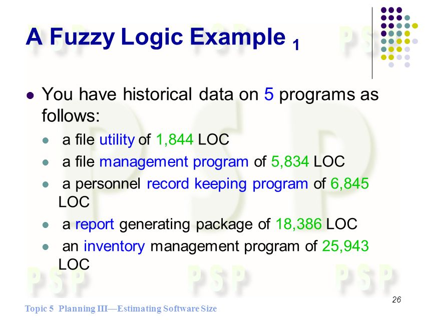 Topic 5 Planning IIIEstimating Software Size 26 A Fuzzy Logic Example 1 You have historical data on 5 programs as follows: a file utility of 1,844 LOC a file management program of 5,834 LOC a personnel record keeping program of 6,845 LOC a report generating package of 18,386 LOC an inventory management program of 25,943 LOC