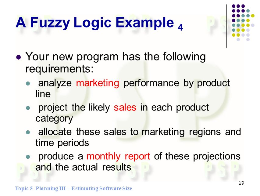 Topic 5 Planning IIIEstimating Software Size 29 A Fuzzy Logic Example 4 Your new program has the following requirements: analyze marketing performance by product line project the likely sales in each product category allocate these sales to marketing regions and time periods produce a monthly report of these projections and the actual results