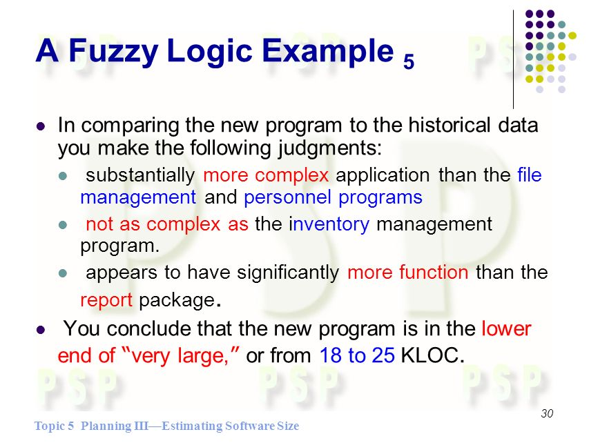 Topic 5 Planning IIIEstimating Software Size 30 A Fuzzy Logic Example 5 In comparing the new program to the historical data you make the following judgments: substantially more complex application than the file management and personnel programs not as complex as the inventory management program.