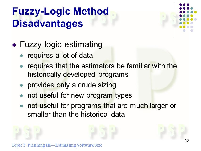 Topic 5 Planning IIIEstimating Software Size 32 Fuzzy-Logic Method Disadvantages Fuzzy logic estimating requires a lot of data requires that the estimators be familiar with the historically developed programs provides only a crude sizing not useful for new program types not useful for programs that are much larger or smaller than the historical data