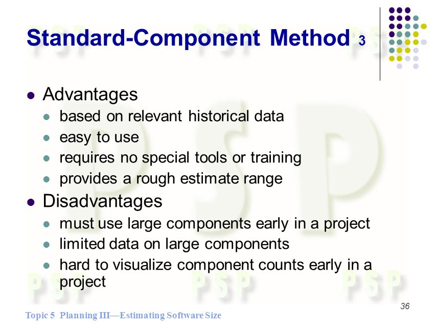 Topic 5 Planning IIIEstimating Software Size 36 Standard-Component Method 3 Advantages based on relevant historical data easy to use requires no special tools or training provides a rough estimate range Disadvantages must use large components early in a project limited data on large components hard to visualize component counts early in a project