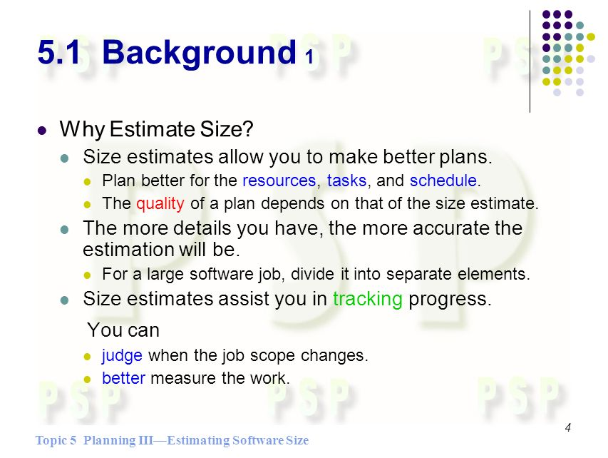 Topic 5 Planning IIIEstimating Software Size 4 5.1 Background 1 Why Estimate Size.