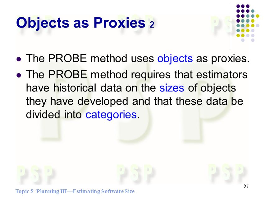 Topic 5 Planning IIIEstimating Software Size 51 Objects as Proxies 2 The PROBE method uses objects as proxies.
