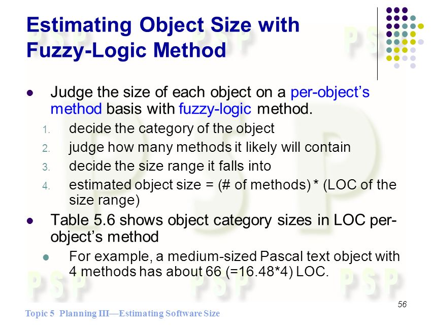 Topic 5 Planning IIIEstimating Software Size 56 Estimating Object Size with Fuzzy-Logic Method Judge the size of each object on a per-objects method basis with fuzzy-logic method.