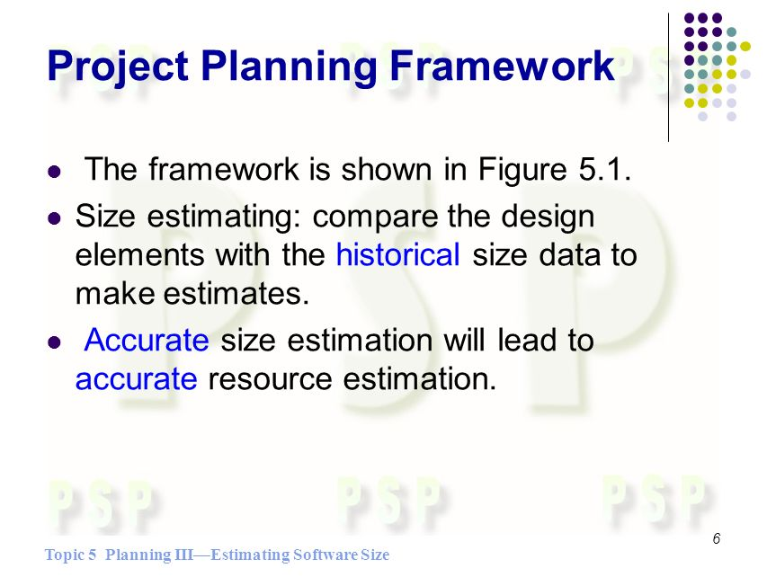 Topic 5 Planning IIIEstimating Software Size 6 Project Planning Framework The framework is shown in Figure 5.1.