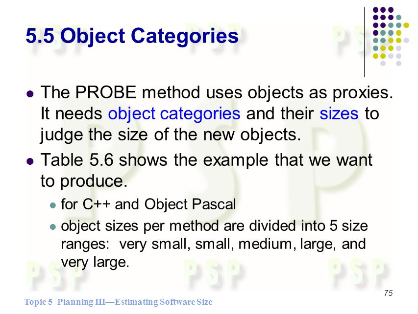 Topic 5 Planning IIIEstimating Software Size 75 5.5 Object Categories The PROBE method uses objects as proxies.