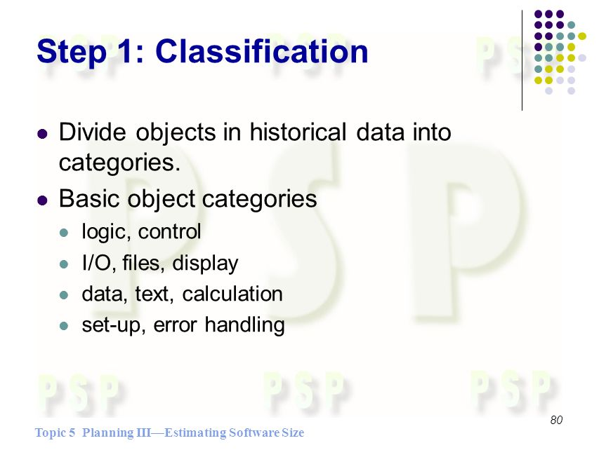 Topic 5 Planning IIIEstimating Software Size 80 Step 1: Classification Divide objects in historical data into categories.