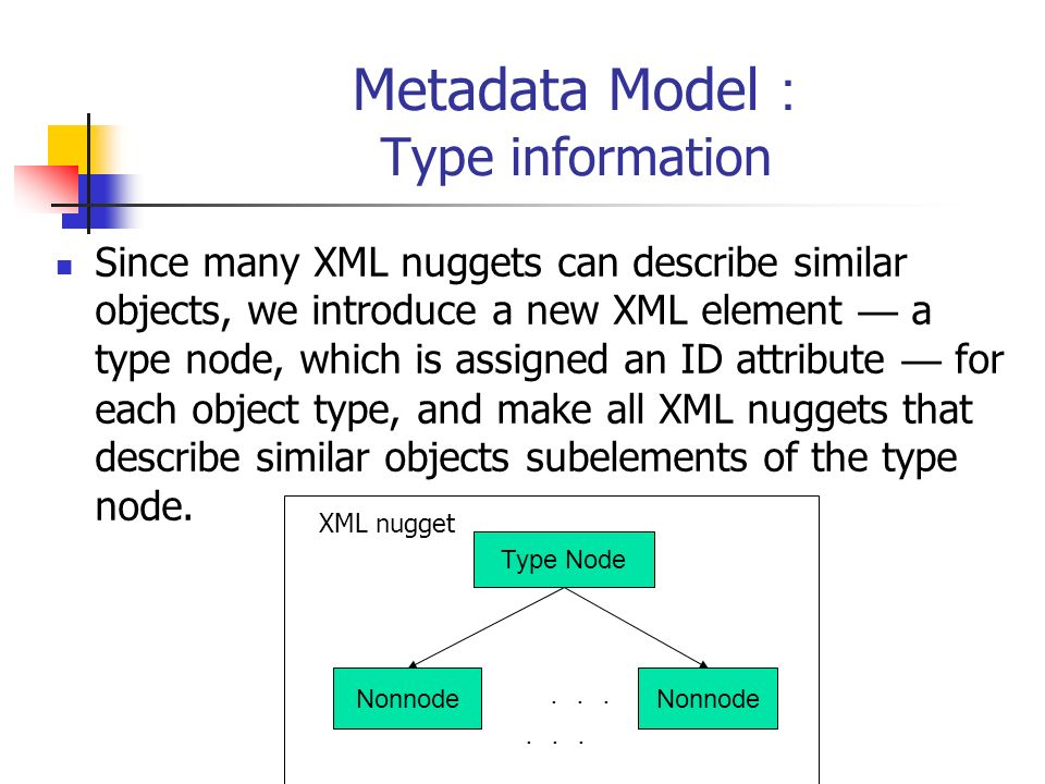 Metadata Model Type information Since many XML nuggets can describe similar objects, we introduce a new XML element a type node, which is assigned an ID attribute for each object type, and make all XML nuggets that describe similar objects subelements of the type node.