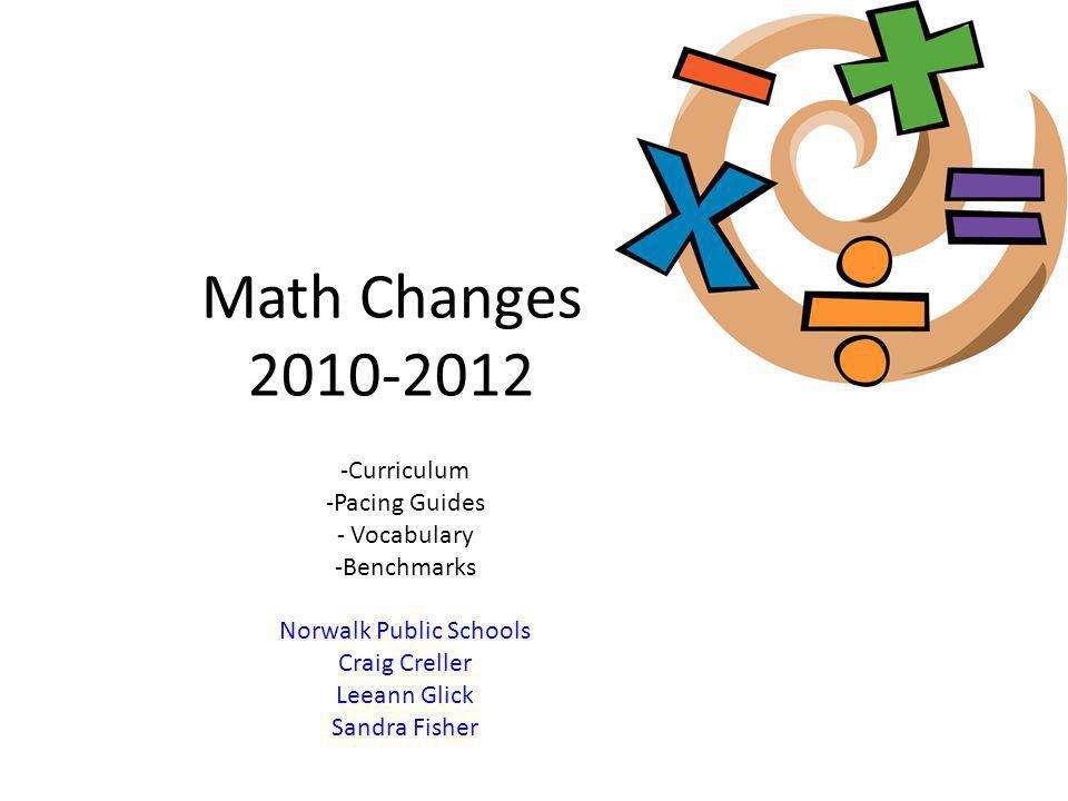 Math Changes 2010-2012 -Curriculum -Pacing Guides - Vocabulary -Benchmarks Norwalk Public Schools Craig Creller Leeann Glick Sandra Fisher