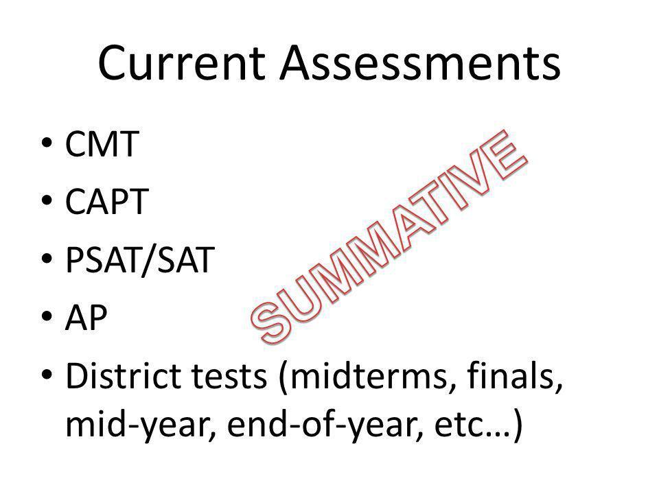 Current Assessments CMT CAPT PSAT/SAT AP District tests (midterms, finals, mid-year, end-of-year, etc…)