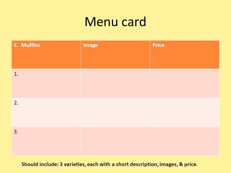 Menu card C. MuffinsImagePrice 1. 2. 3.