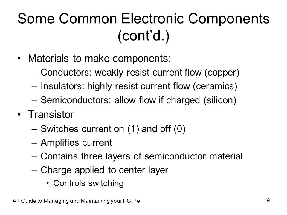 Some Common Electronic Components (contd.) Materials to make components: –Conductors: weakly resist current flow (copper) –Insulators: highly resist c