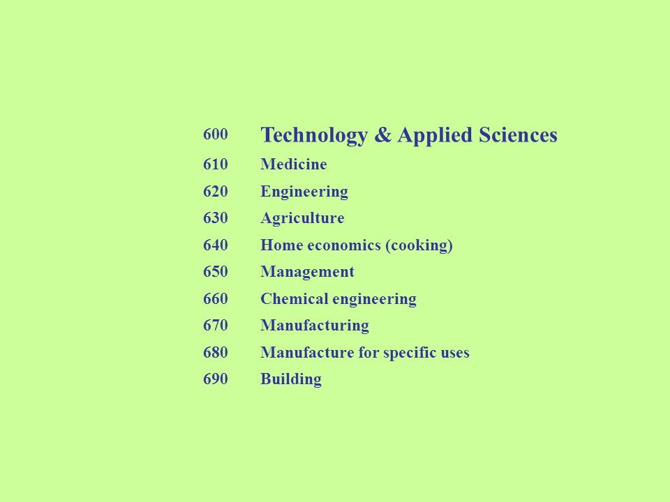 600 Technology & Applied Sciences 610Medicine 620Engineering 630Agriculture 640Home economics (cooking) 650Management 660Chemical engineering 670Manuf