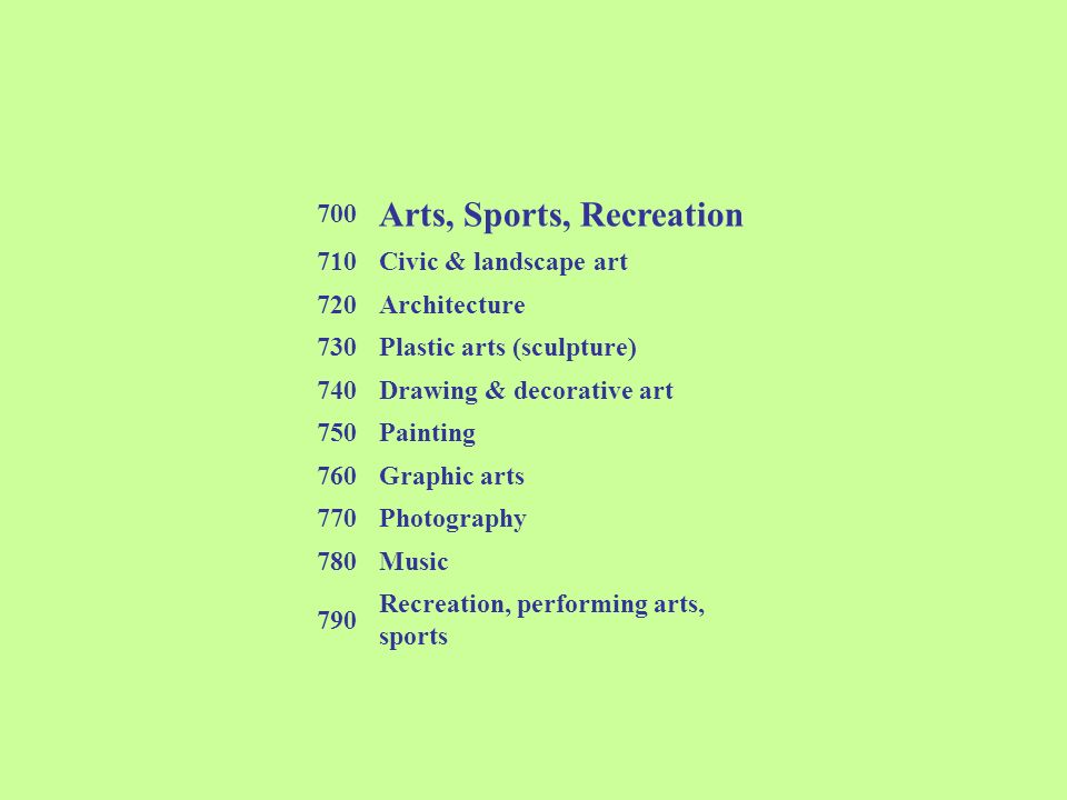 700 Arts, Sports, Recreation 710Civic & landscape art 720Architecture 730Plastic arts (sculpture) 740Drawing & decorative art 750Painting 760Graphic a