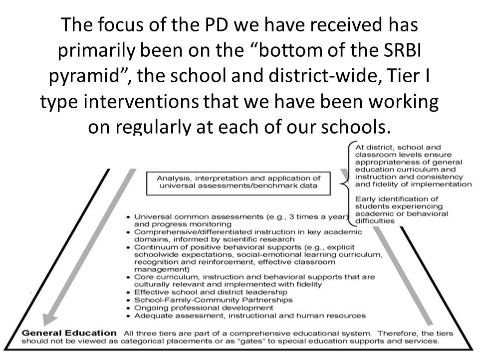 The focus of the PD we have received has primarily been on the bottom of the SRBI pyramid, the school and district-wide, Tier I type interventions tha