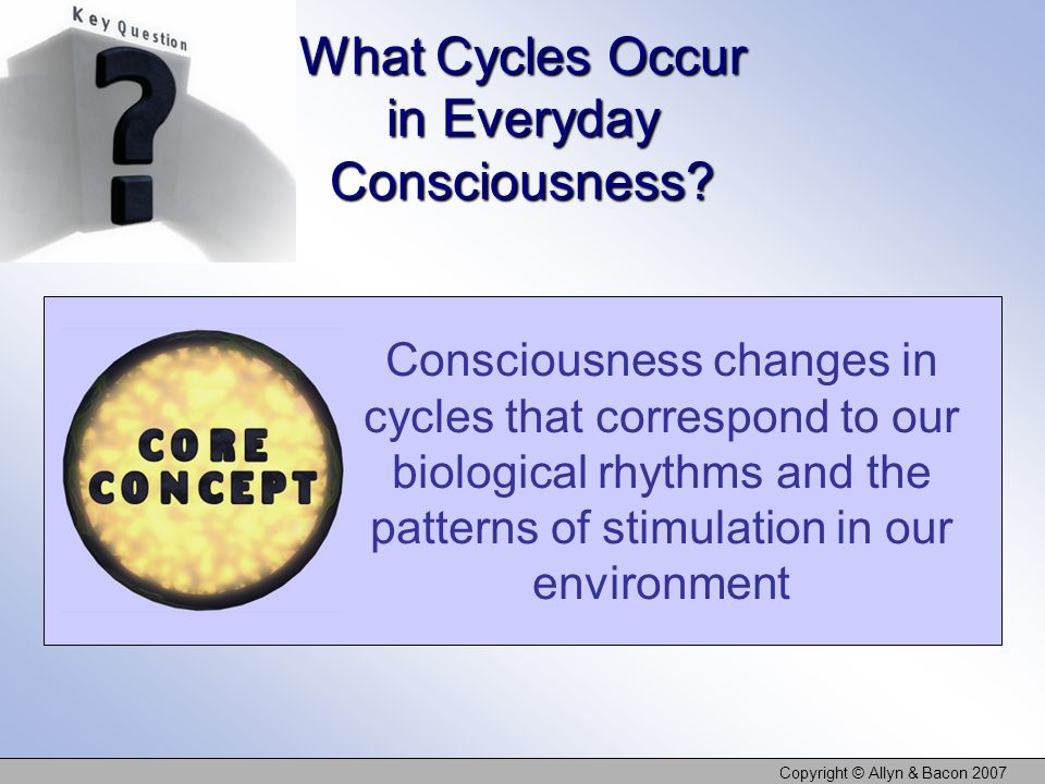 Copyright © Allyn & Bacon 2007 What Cycles Occur in Everyday Consciousness.