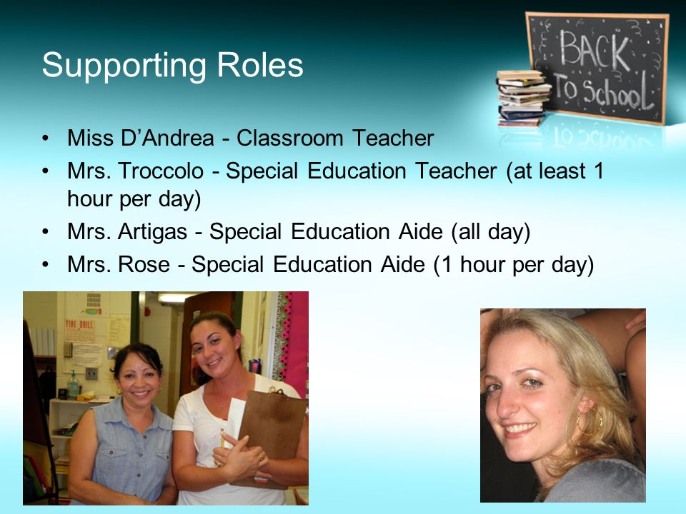 Supporting Roles Miss DAndrea - Classroom Teacher Mrs. Troccolo - Special Education Teacher (at least 1 hour per day) Mrs. Artigas - Special Education