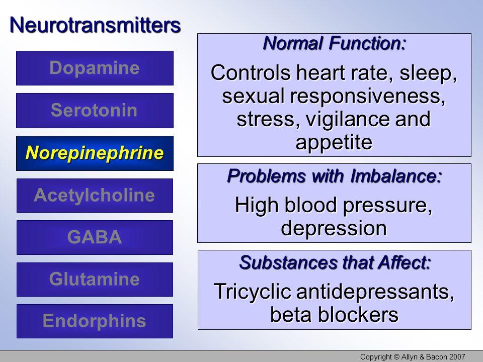 Copyright © Allyn & Bacon 2007Neurotransmitters Dopamine Serotonin Acetylcholine Glutamine Norepinephrine GABA Endorphins Normal Function: Controls he