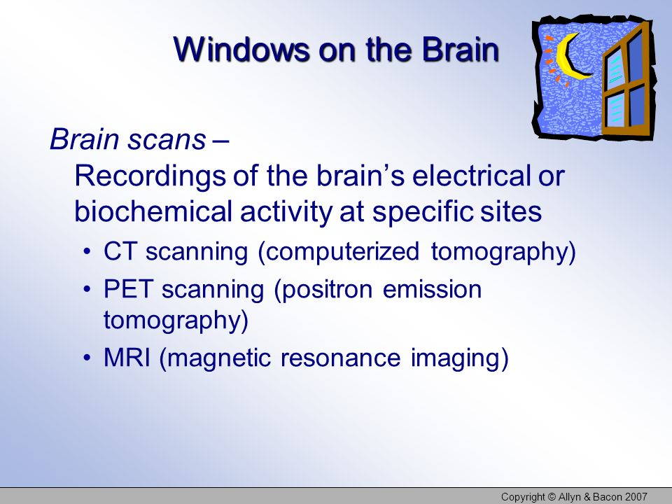 Copyright © Allyn & Bacon 2007 Windows on the Brain Brain scans – Recordings of the brains electrical or biochemical activity at specific sites CT sca