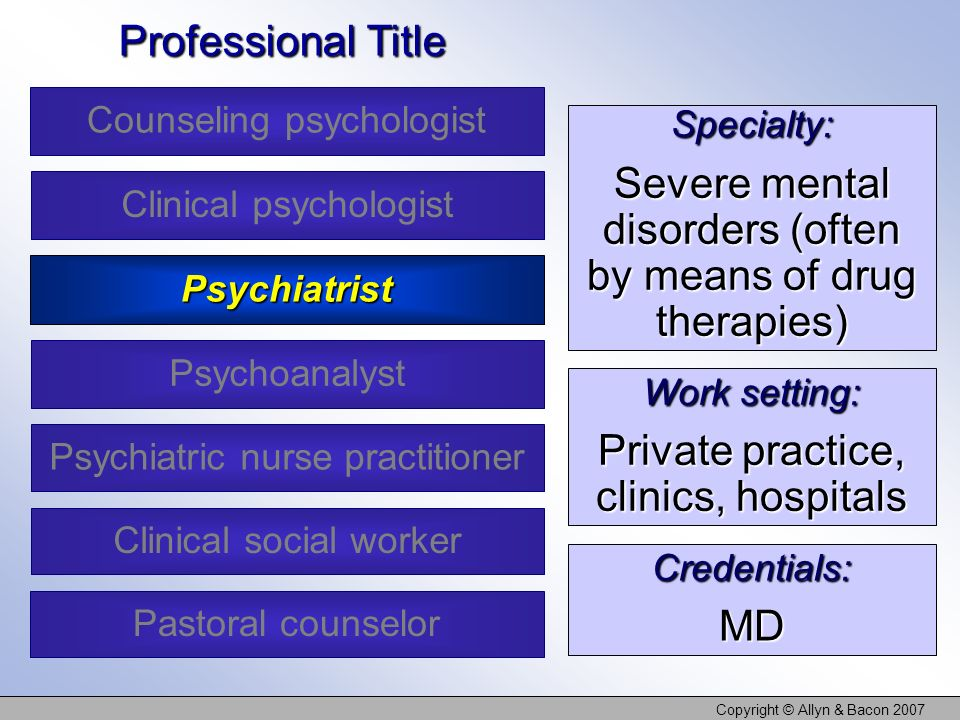 Copyright © Allyn & Bacon 2007 Specialty: Severe mental disorders (often by means of drug therapies) Work setting: Private practice, clinics, hospitals Credentials:MD Professional Title Counseling psychologist Clinical psychologist Psychoanalyst Clinical social worker Psychiatrist Psychiatric nurse practitioner Pastoral counselor