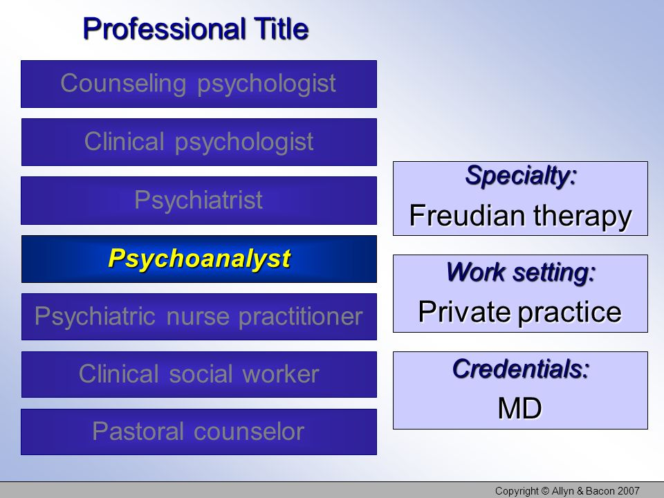 Copyright © Allyn & Bacon 2007 Specialty: Freudian therapy Work setting: Private practice Credentials:MD Professional Title Counseling psychologist Clinical psychologist Psychoanalyst Clinical social worker Psychiatrist Psychiatric nurse practitioner Pastoral counselor