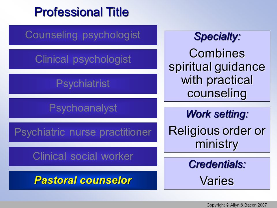 Copyright © Allyn & Bacon 2007 Specialty: Combines spiritual guidance with practical counseling Work setting: Religious order or ministry Credentials:Varies Professional Title Counseling psychologist Clinical psychologist Psychoanalyst Clinical social worker Psychiatrist Psychiatric nurse practitioner Pastoral counselor