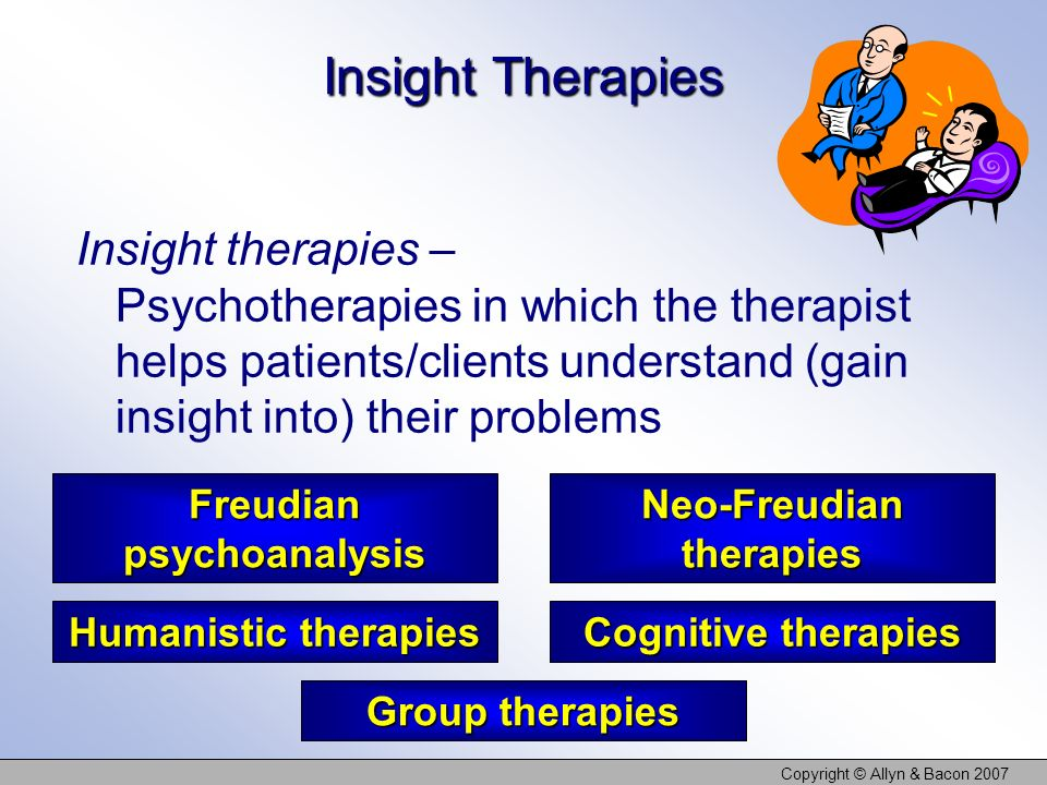Copyright © Allyn & Bacon 2007 Insight Therapies Insight therapies – Psychotherapies in which the therapist helps patients/clients understand (gain insight into) their problems Freudian psychoanalysis Cognitive therapies Humanistic therapies Neo-Freudian therapies Group therapies
