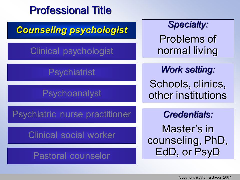 Copyright © Allyn & Bacon 2007 Specialty: Problems of normal living Work setting: Schools, clinics, other institutions Credentials: Masters in counseling, PhD, EdD, or PsyD Professional Title Counseling psychologist Clinical psychologist Psychoanalyst Clinical social worker Psychiatrist Psychiatric nurse practitioner Pastoral counselor